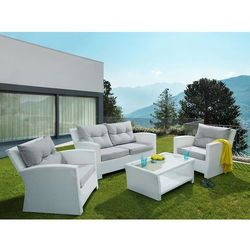 Meble ogrodowe białe - rattanowe - tarasowe - balkonowe - SAN MARINO (7105273440713)