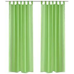 vidaXL Zasłona na szelkach, prześwitująca, zielona, 140 x 225 cm, 2 sztuki