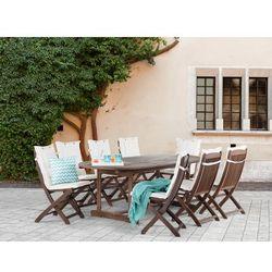 Meble ogrodowe - ogród - stół + 8 krzeseł + 8 beżowych poduszek - MAUI - sprawdź w wybranym sklepie