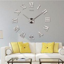 RZYMSKI srebrny duży zegar na ścianę większa niż 50 cm srebrny, kolor szary