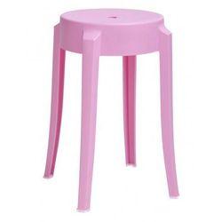 Designerski okrągły taboret Tolla - różowy