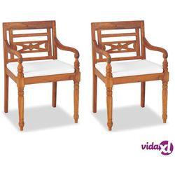vidaXL Krzesła ogrodowe Batavia, 2 szt., drewno tekowe, 55x51,5x84 cm