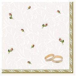 Serwetki Obrączki, biały, 33 x 33cm, 1op. Wesele.