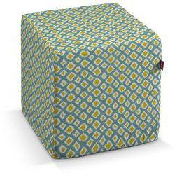 pufa kostka, oliwkowo-żółte romby na turkusowym tle, 40 × 40 × 40 cm, comics marki Dekoria