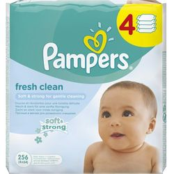 Chusteczki nawilżane PAMPERS Baby Fresh Clean (4 x 64 sztuki), towar z kategorii: Pieluchy jednorazowe