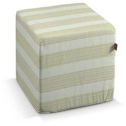 pufa kostka, zielono-brązowe trójkąty, 40 × 40 × 40 cm, rustica do -30% marki Dekoria