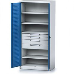 Szafa warsztatowa MECHANIC, 1950 x 920 x 500 mm, 4 półki, 4 szuflady, niebieskie drzwi