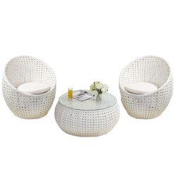 Salon ogrodowy CAZAS z technorattanu – biały: 2 krzesła i stół