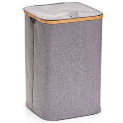 Zeller Pojemnik na pranie z płótna i bambusa, kosz na ubrania, pojemnik na bieliznę, kosz na pranie bambus, kosz na pranie tekstylny, (4003368142326)