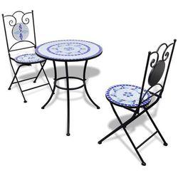 vidaXL Stolik i 2 krzesła z mozaiką niebiesko-białą, vidaxl_271771