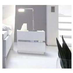 Szafka nocna włoska CROMA 55/40/45 biała z chromowaną aplikacją