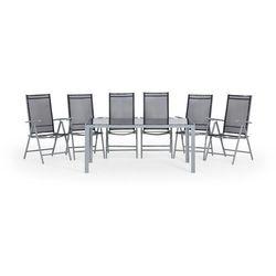 Beliani Aluminiowe meble ogrodowe czarne 160 x 90 cm dla 6 osób catania (7081453510462)