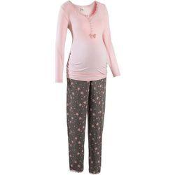Bonprix Piżama do karmienia piersią  pastelowy jasnoróżowy - dymny szary