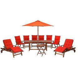 Beliani Zestaw ogrodowy drewniany prostokątny poduchy jasnoczerwone parasol toscana (4260602371236)