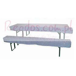 Komplet pokrowców na stół i 2 ławki, niebiesko - białe