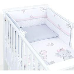 Mamo-tato 3-el dwustronna rozbieralna pościel dla niemowląt 90x120 słoniątka różowe / szary