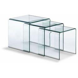 Zestaw stolików szklanych PRIAM TRIO transparentny - szkło transparentne, CB-001A (7812624)