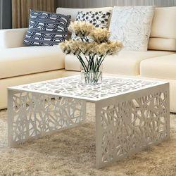 vidaXL Aluminiowy stolik do kawy Srebrny Ażurowe wykonanie (8718475950936)