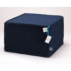 Granatowy szydełkowy puf Comfortable Flat - We Love Beds, 5902409732788