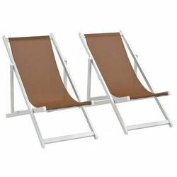 Składane krzesła plażowe Strand - brąz, vidaxl_44350