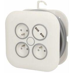Przedłużacz zwijany 3x2P+Z, USBx2 płaska wtyczka7m, OR-AE-1376 (5901752489585)