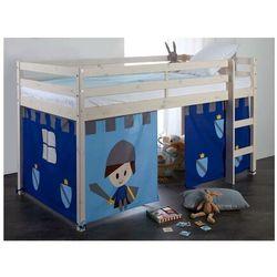 Vente-unique Półwysokie łóżko lilio - 90x190 cm - lita sosna - niebieskie zasłony z rycerzami