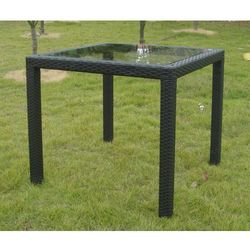 Stolik wiklinowy ze szklanym blatem 80 x 80 cm