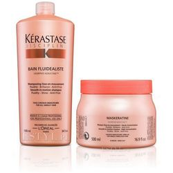 Kerastase  fluidealiste - zestaw dyscyplinujący włosy: szampon + maska 1000+500ml