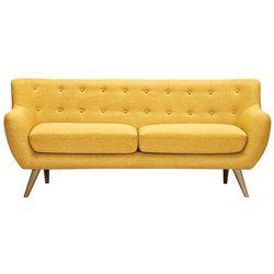 Vente-unique Sofa 3-osobowa z tkaniny serti - miodowa żółć z dopasowanymi dekoracyjnymi guzikami