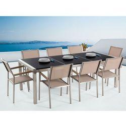 Meble ogrodowe - stół granitowy 220 cm czarny polerowany z 8 beżowymi krzesłami - grosseto marki Beliani