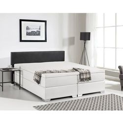 Łóżko kontynentalne skóra ekologiczna czarno-białe 160 x 200 cm PRESIDENT, kolor czarny