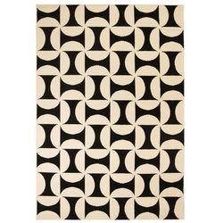 Nowoczesny dywan, wzory geometryczne, 80x150 cm, beżowo-czarny