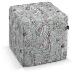pufa kostka twarda, białe kwiaty na miętowym tle, 40x40x40 cm, brooklyn marki Dekoria
