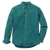 Koszula z długim rękawem Regular Fit bonprix zielono-ciemnoniebieski w kratę