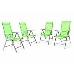 Komplet 4 krzesła aluminiowe rozkładane Garth zielone