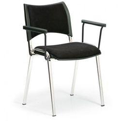 Krzesła konferencyjne smart - chromowane nogi, z podłokietnikami, czarny marki B2b partner