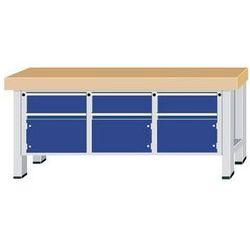 Stół warsztatowy do dużych obciążeń,szer. blatu 2250 mm, z 3 szufladami i 3 drzwiami skrzydłowymi