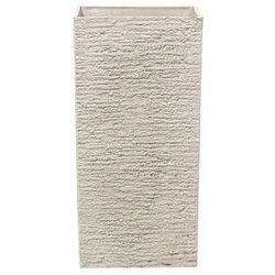 Beliani Doniczka beżowa kwadratowa 35 x 35 x 70 cm gaza (4260586357127)