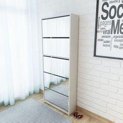 Vidaxl szafka na buty z 5 półkami lustrem w kolorze białym 63x17x169,5 cm