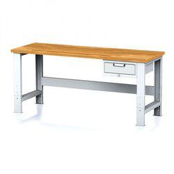 Stół warsztatowy MECHANIC, 2000x700x700-1055 mm, nogi regulowane, 1x szufladowy kontener, 1x szuflada, szara