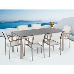 Meble ogrodowe - stół granitowy – cała płyta - 180 cm czarny palony z 6 białymi krzesłami - grosseto od producenta Beliani