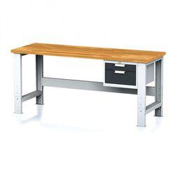 Stół warsztatowy MECHANIC, 2000x700x700-1055 mm, nogi regulowane, 1x szufladowy kontener, 2 szuflady, antracyt