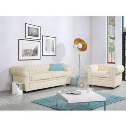 Beliani Sofa kanapa skórzana beżowa klasyka dom biuro chesterfield, kategoria: sofy