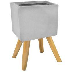 Osłonka doniczki kwadratowa na nogach zewnętrzna 30 cm szara, 88.049.30