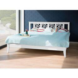 Łóżko białe - 180x200 cm - drewniane - ze stelażem - CAEN
