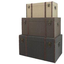 Zestaw 3 kufrów vintage ABIGAIL - Dł. 68 / 62 / 51 cm - Kolor beżowy, szarobrązowy i brązowy