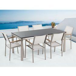 Beliani Meble ogrodowe - stół granitowy – cała płyta - 180 cm czarny polerowany z 6 białymi krzesłami - grosseto, kategoria: zestawy ogrodowe