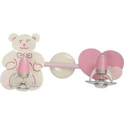 Kinkiet oprawa lampa ścienna Nowodvorski Honey do pokoju dziecięcego miś 2x40W E14 różowy 3657, 3657