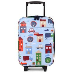 Penny Scallan Design, walizka na kółkach i nóżkach, błękitna w autka - produkt dostępny w Smyk