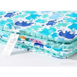 Mamo-tato komplet kocyk minky do wózka + poduszka słonie niebiesko-zielone / miętowy
